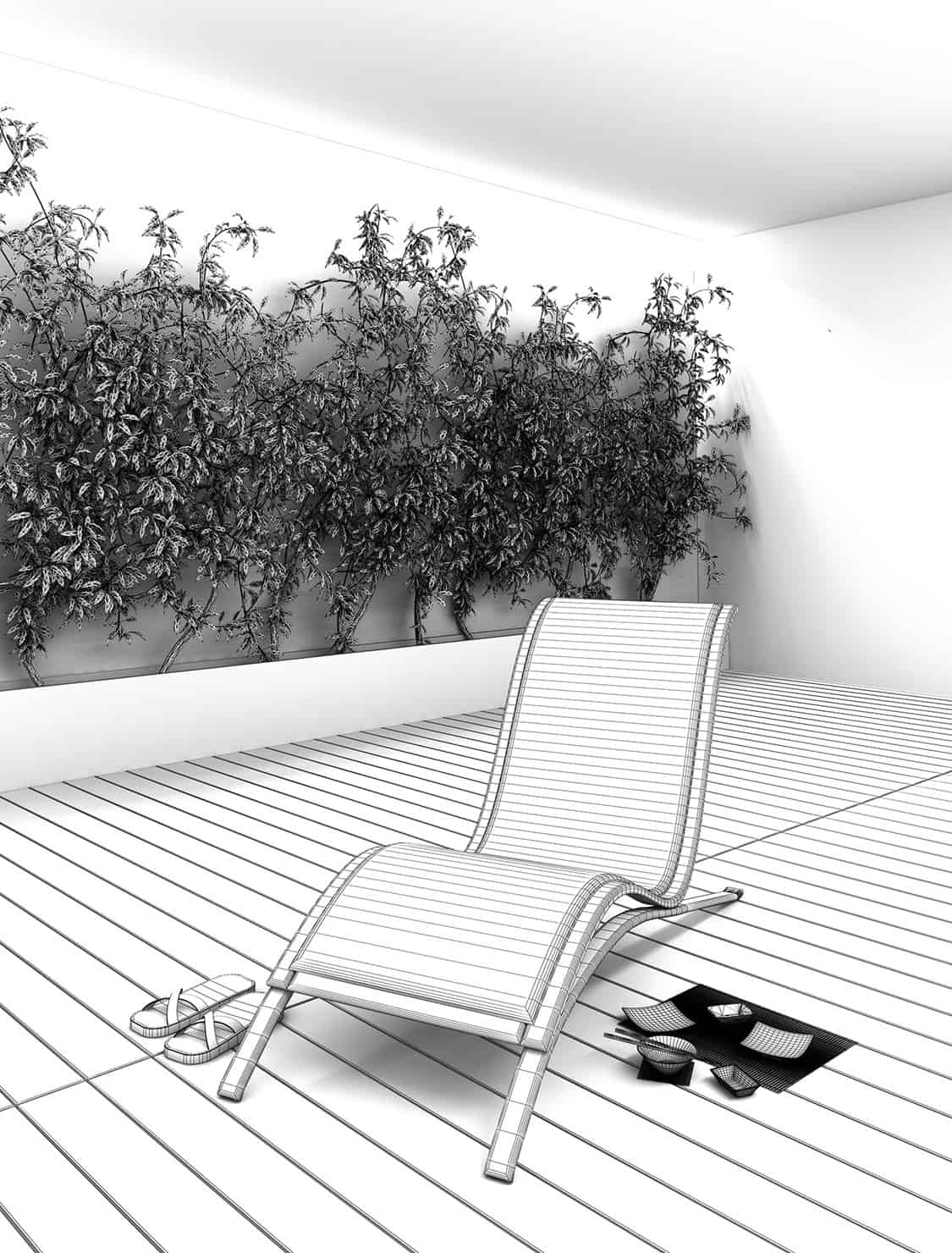 essential chaise lounge render wireframe